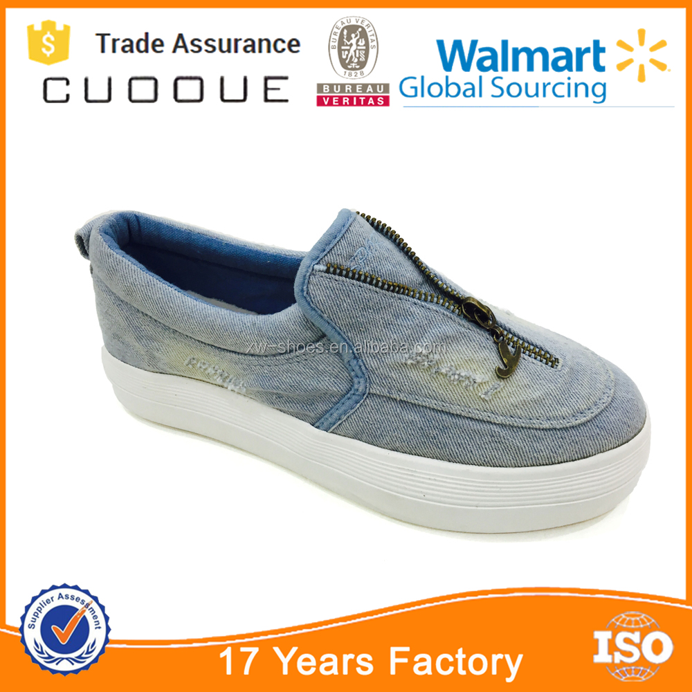 Women Jeans Slip-On Platform Elevator Shoes