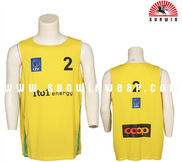 china cheap basketball jersey yellow color