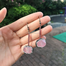 LS-D7431 Wholesale pink rose quartz pave diamond crystal drop earring for girl
