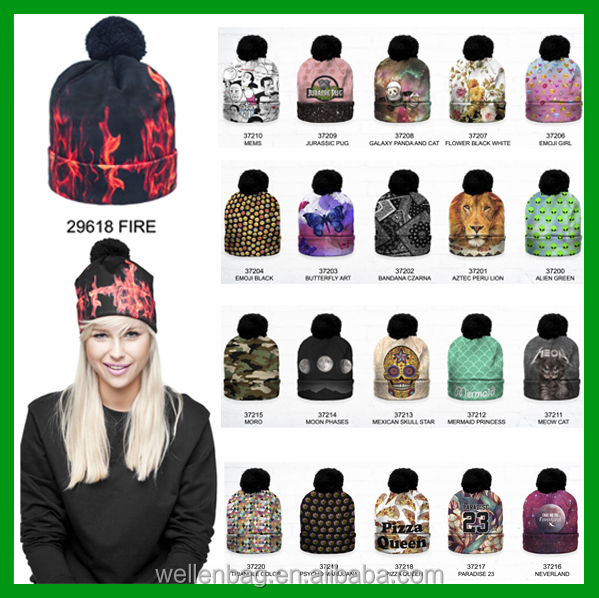 Fashion Hot-sale Unisex Winter Bobble Pompon 3D Graphic Full Print Skully Digital printing Beanie