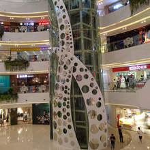 Self clean Aluminum carved decorate panel for shopping mall stairs
