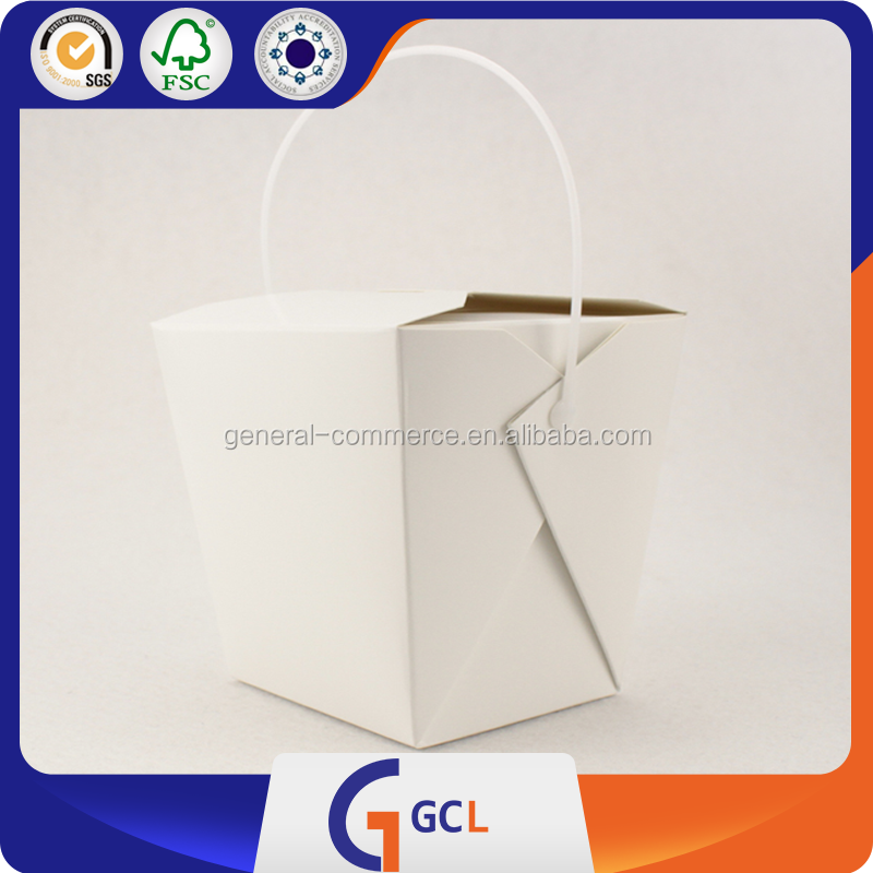 16oz Disposable Kraft Take out Iron Handle Paper Noodle Box
