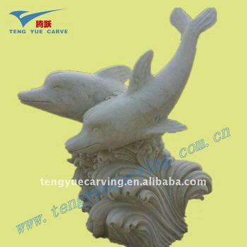 animal dolphin white stone carved sculpture