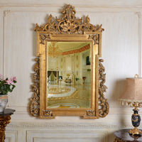 PU804 Antique Style Gold Leaf Wall Art Hanging Mirror