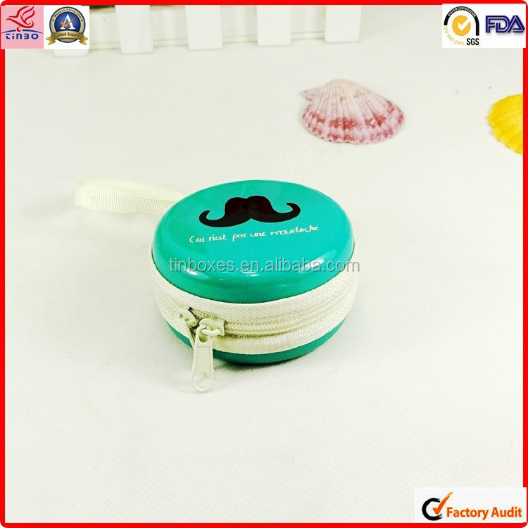 gift hot sale empty small metal tin round box with zipper