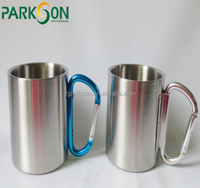 China Factory 400ml double wall round travel stainless steel coffee mug with Climbing buckle