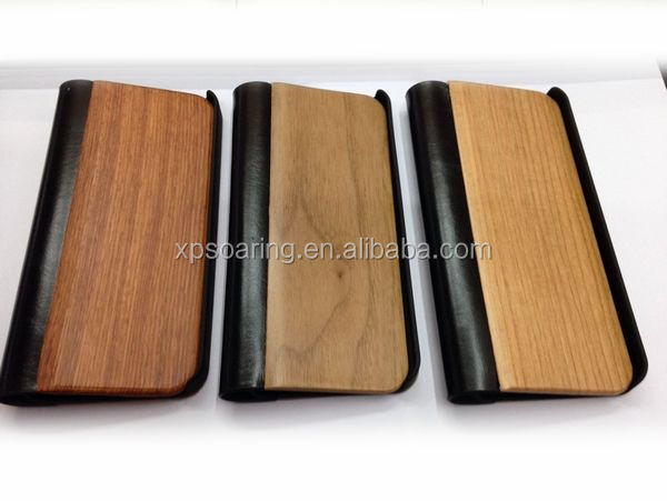 Wood Leather case for iphone 5, for iphone 5 Bamboo leather cover