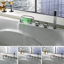 Modern Chrome Finish Color Changing LED Waterfall with Shower Hand Bathroom Mixer