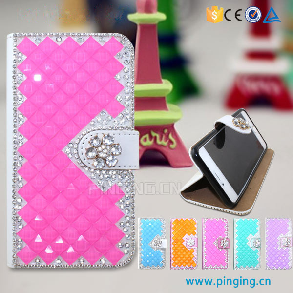 Luxury crystal rhinestone diamond flip stand wallet leather cover for ZTE Open c2 bling bling case