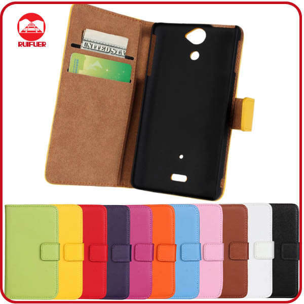 RF Manufacturer Book Style Pouch Pocket Stand Wallet Flip Leather Case Cover for Sony Xperia V Lt25i With Card Slots