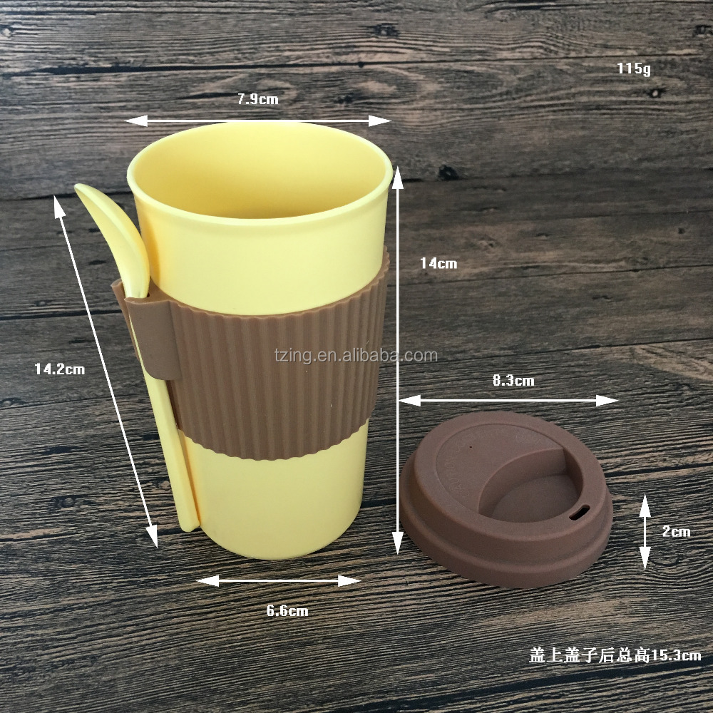 2017 Hot Sale Colorful wheat Fiber Coffee Cup With Silicone Lid And Holder