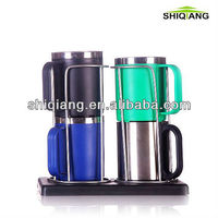220ml stainless steel coffee cup set 4pcs coffee cup set within one base