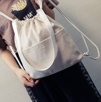 Vintage Cotton Canvas Draw String Student Backpack Travelling Bag