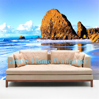 Beach seascape Children's room 3d figure TV wall mural