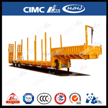 4axle Air Suspension Cimc Huajun Lowbed Semi Trailer with Pillar