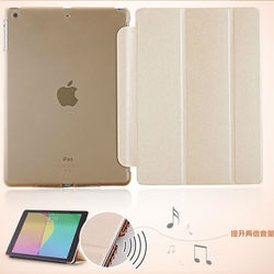 2013 New Design Sound Enhancer leather case,for iPad air leather case