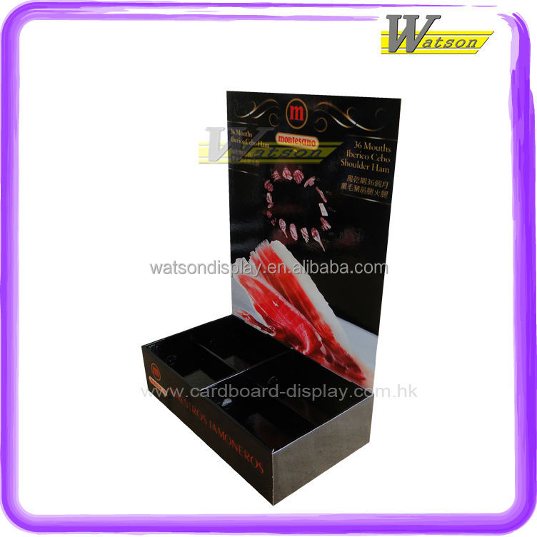 supermarket retail promo for ham cardboard counter top display stand