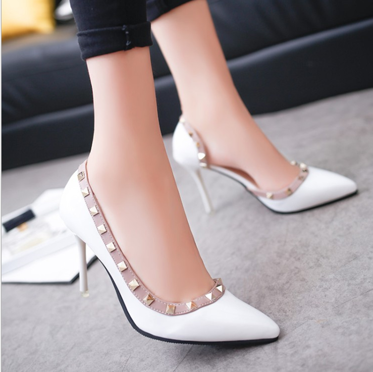 X60560A women pumps rivets solid high heels shoes pointed toe elegant party PU shoes