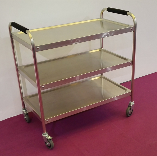 3-Tiers Good Price Stainless Steel Kitchen Food Serving Trolley