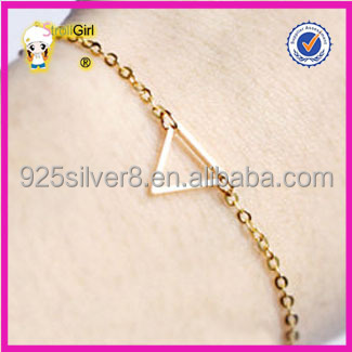 Wholesale 925 silver Dainty triangle gold bracelet minimalist jewelry delicate chain gift for her