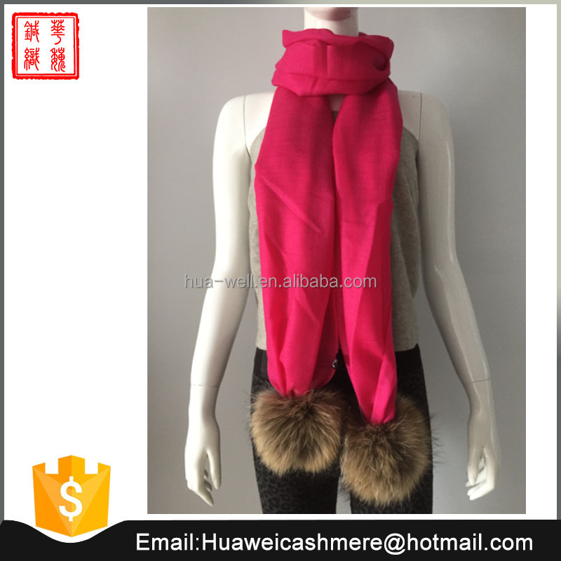 Thin cashmere scarf with pompom