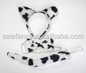 Headband cow animal ear Bow Tail 3pc Set Costume Fancy dress Cow OX Ears Farm Zoo Animal Headband QHBD-8294