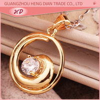 New design fashion jewelry gold plated single big stone pendant jewelry