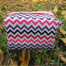 DOMIL Multi-colors Chevron Makeup Bag polyester Women's Cosmetic Women's bags