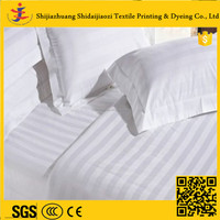 white bedding sets for star hotel cotton satin stripe fabric