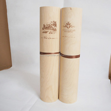 cheap light weight cylinder birch wood wine packaging box