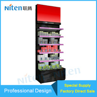 Slatted Wall Toy Display Cabinet Cosmetic Exhibition Showcase Metal Material Display rack Storage Holders & Racks Type and Metal