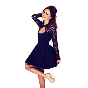Hot Sales Long Sleeve Black Backless Lace Sexy Women Short Dress