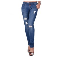 2016 newest style jeans for ladies ripped skinny women's denim jeans