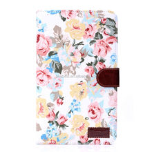 For Samsung Galaxy Tab 4 8 inch Case, Flower Leather Pouch for Samsung SM-T230