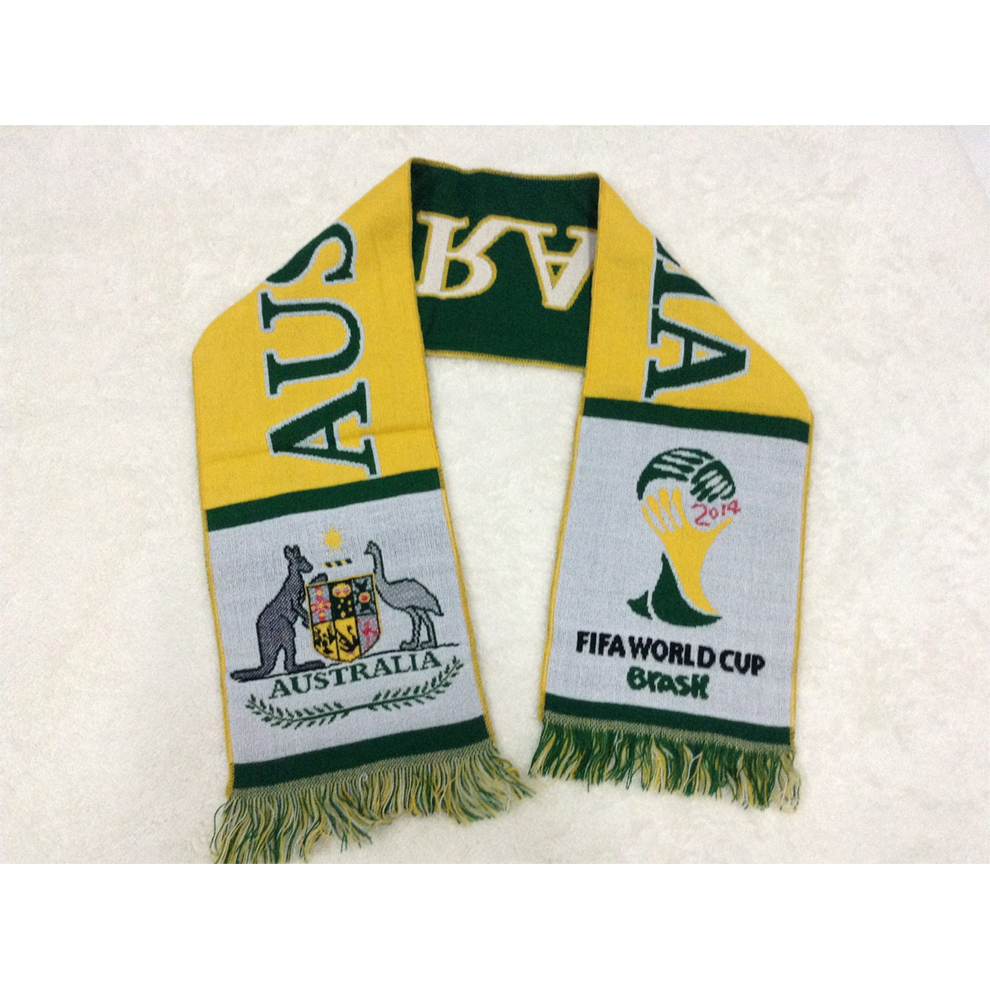 Hot sell promotional woven fan scarf for Australian national team