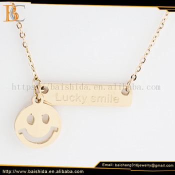 lucky smile emoji necklace double pendants jewelry rose gold stainless steel