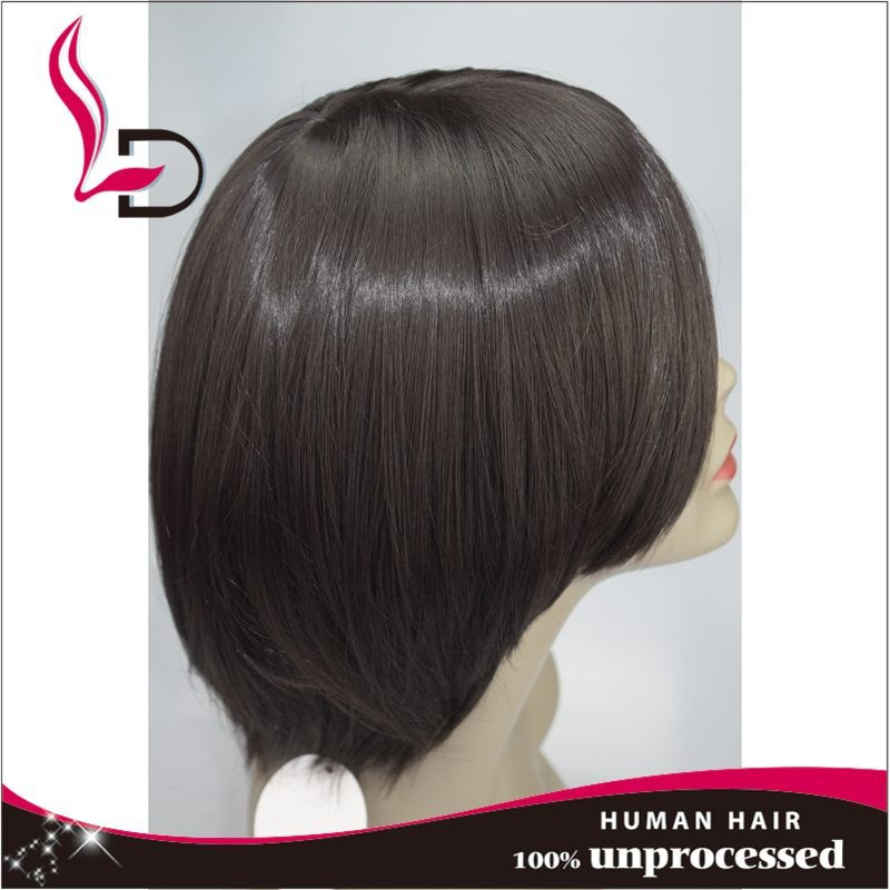 Hot Sell Human Hair Short Bob Full Lace Wig/Lace Front Wig 130% Density Right Side Bangs