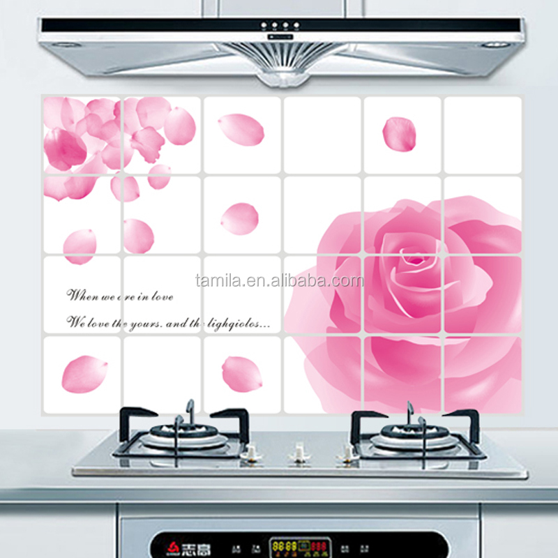 Home Kitchen Oil Water Proof Heat Resistant Painting Flower Wall Sticker
