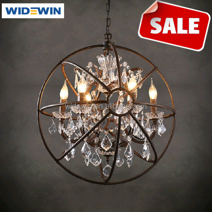 Round Crystal Ball Pendant Chandelier Lights Vintage Classical Style Lamp