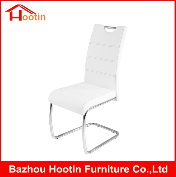 New Design PU Leather Chrome Metal Tueb Hand Carry Portable White Color Dining Room Chairs