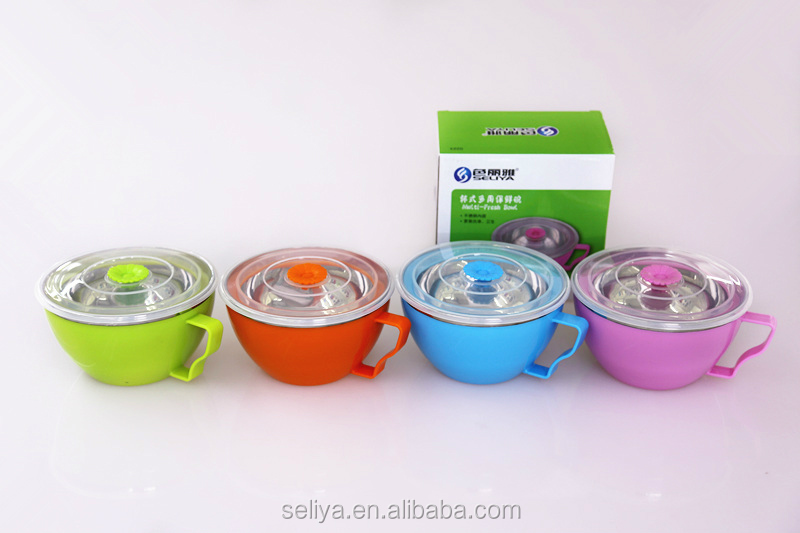 Stainless Steel noodle bowl with leak-proof sealing lid for office lady