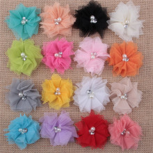 artificial chiffon tulle flower corsage-mesh chiffon flower brooch-cheap hair flower