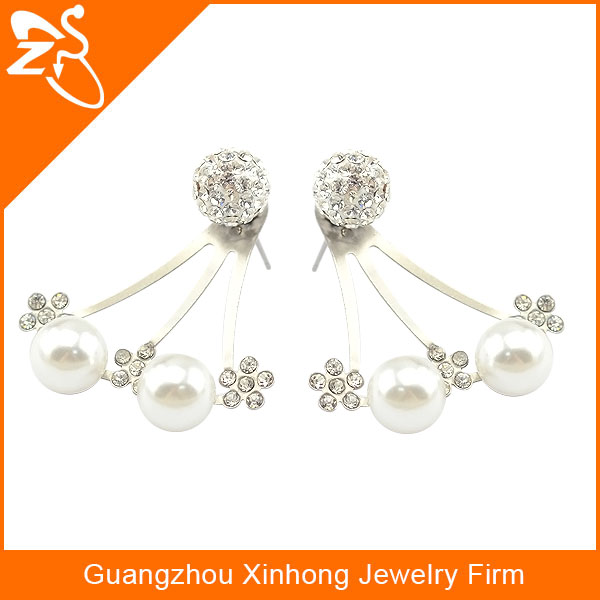 fashion earrings 2015 pear stud earrings fashion crystal ear studs with pearl
