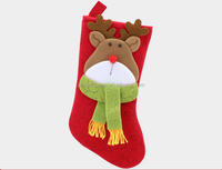 New premium personalized set of 2 polyester sock hanger holder felt Christmas stocking with Santa Claus deer head for merry Xmas