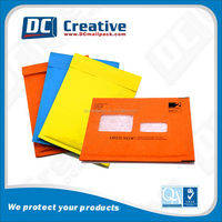 Wholesale customized Kraft Color-printed bubble mailer with open window/Window style kraft bubble envelope bags