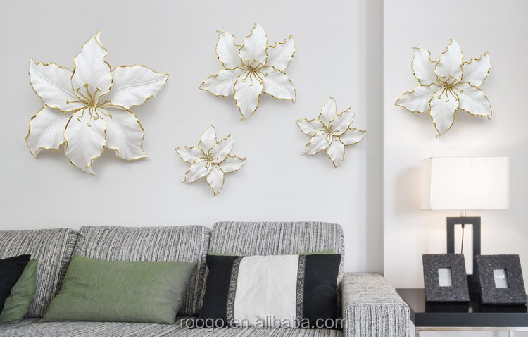 Original design 3D flower wall hanging decoration poly resin elegant lily home wall decor ornaments