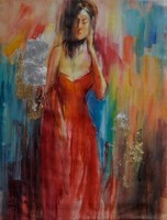 Personalized Design Abstract red dress sexy nude women oil painting