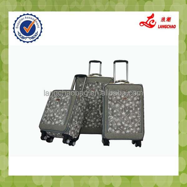 2015 promotion sale new material four wheels pu leather carry on luggage