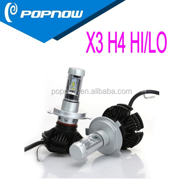 Super bright 50W 6000LM X3 led headlight, IP67 waterproof LUMILEDS ZES 25W 3000LM H4 HB2 car led 3000K 6000K 8000K