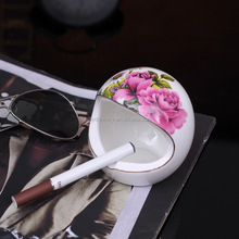 originality ceramic rose flower ashtray porcelain keep out the wind smoking set
